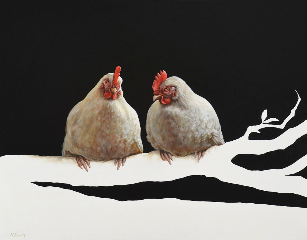"Alexandra Klimas ""Miep the Chicken and Lellebel the Chicken"" Oil on canvas 80 x 100 cm"