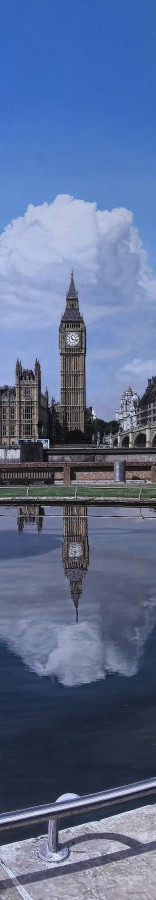 "Daniel Cuervo ""Big Ben"" Oil on board 120.5 x 20 cm"