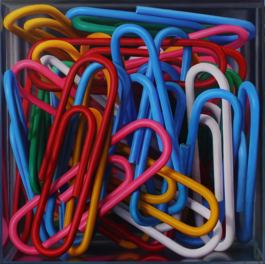 Clip Box Oil on board 120 x 120 cm