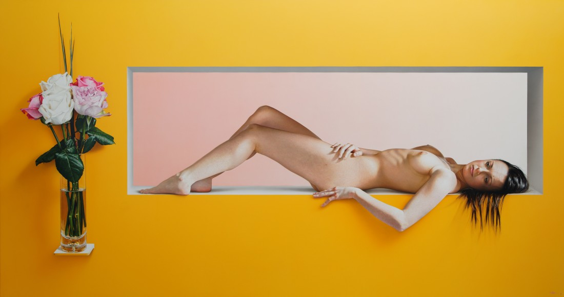 Yellow Acrylic on aluminium composite panel 100 x 190 cm