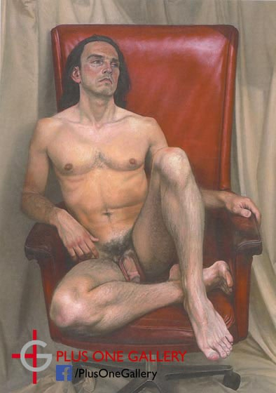 Craig Wylie Naked Man, red chair oil on canvas 110 x 70 cm