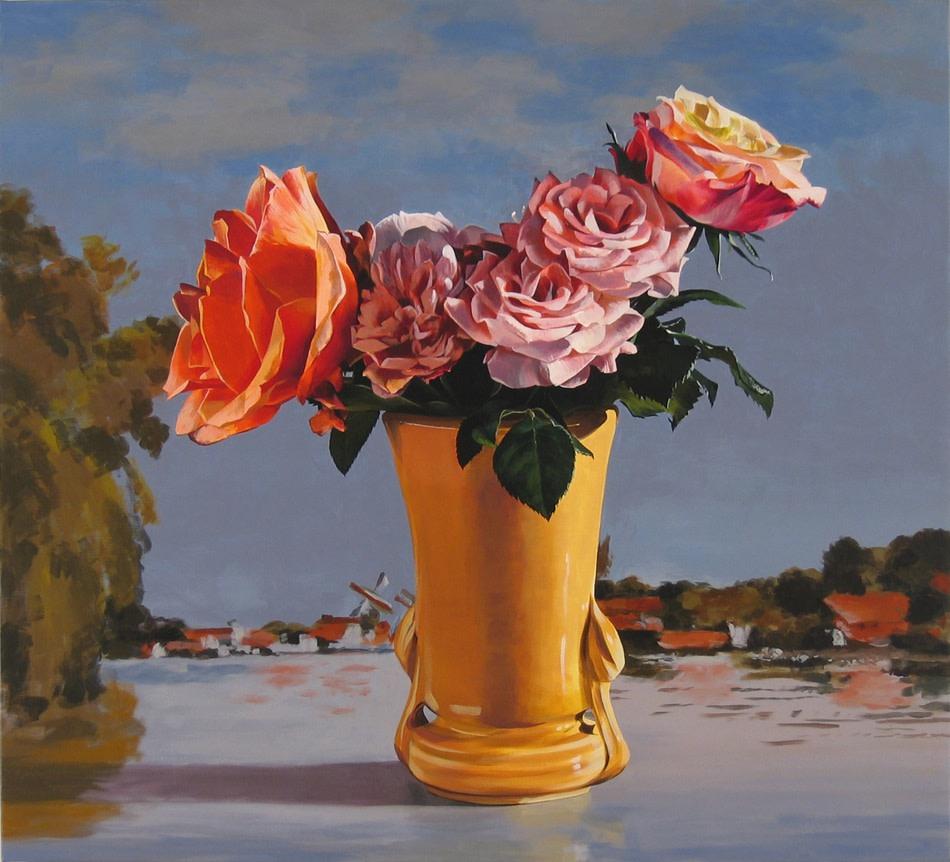Ben Schonzeit Rose Monet Sky Acrylic on linen 102 x 102 cm