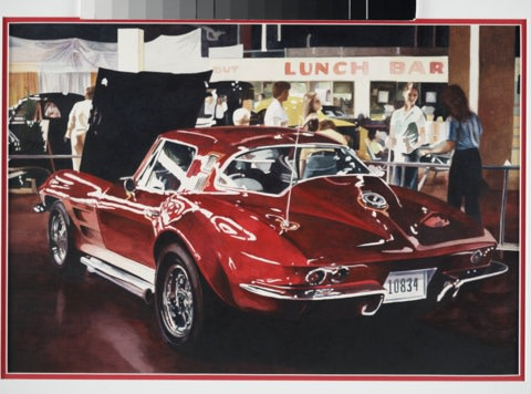 Harold Zabady American Classic: Corvette Stingray watercolour on paper 37 x 54 cm