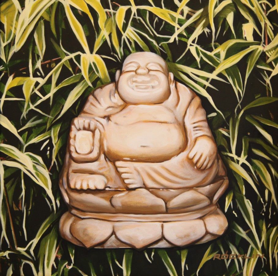 Peter Rocklin Cherished Possessions: Buddha and Bamboo Oil on panel 30 x 30 cm