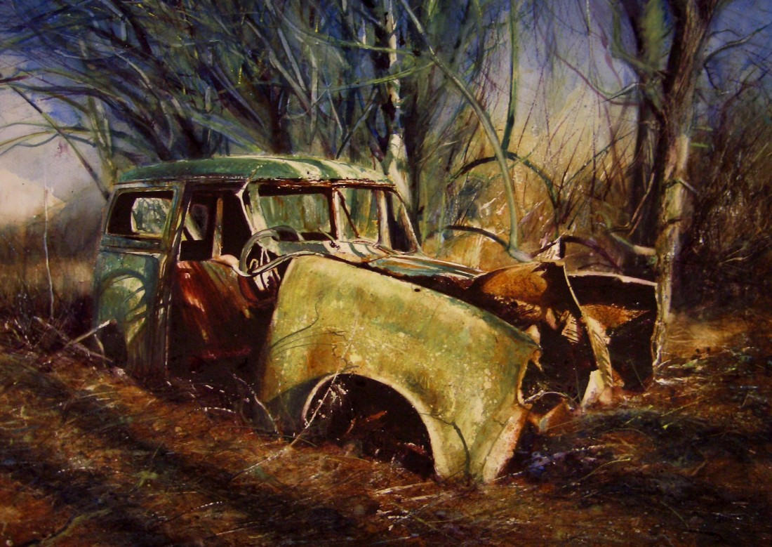 David Poxon Car in an Evening Wood watercolour on paper 47 x 71 cm