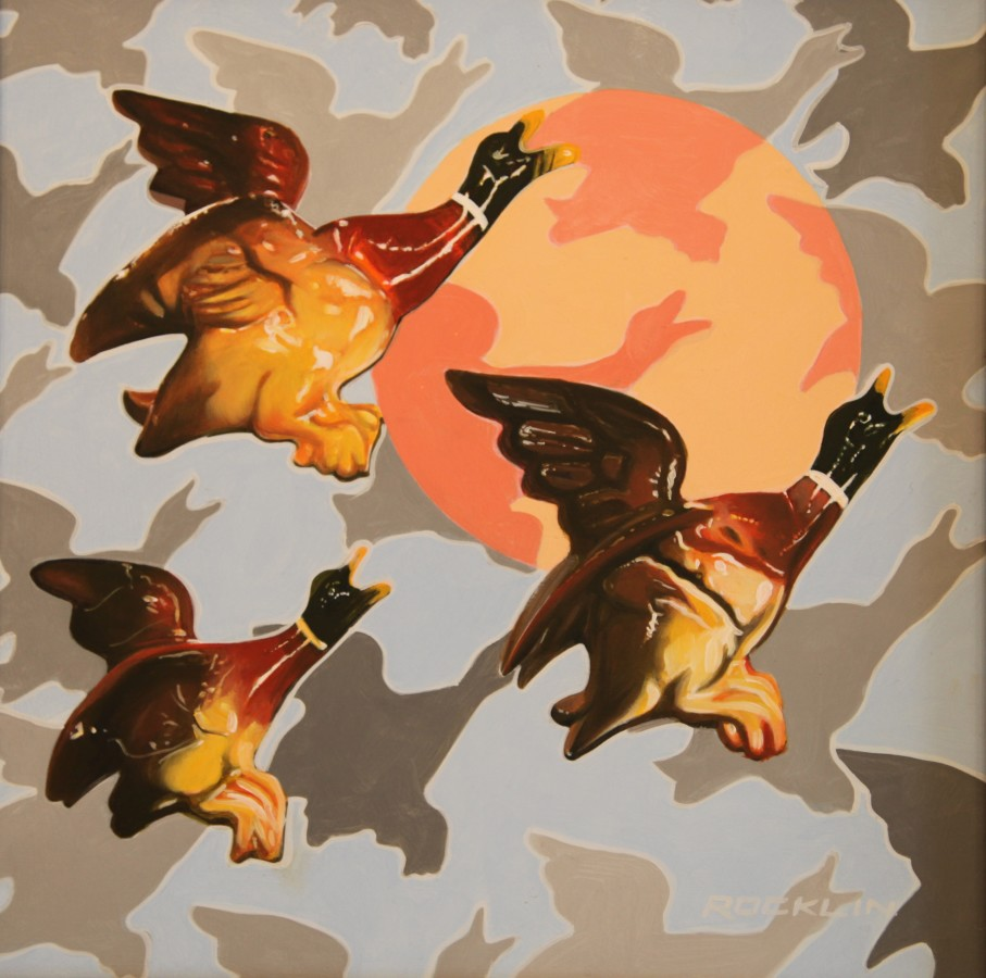 Peter Rocklin Cherished Possessions: Flock Wallpaper (Ducks) Oil on panel 30 x 30 cm