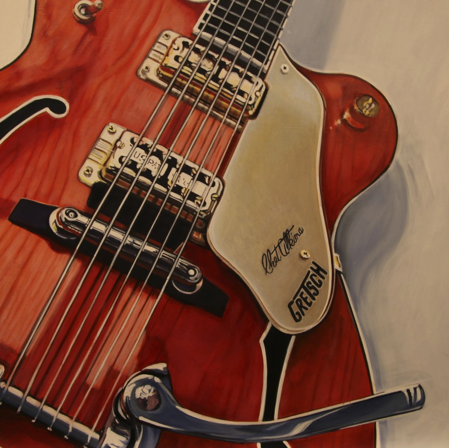 Peter Rocklin Cherished Possessions: Gretsch Oil on panel 30 x 30 cm