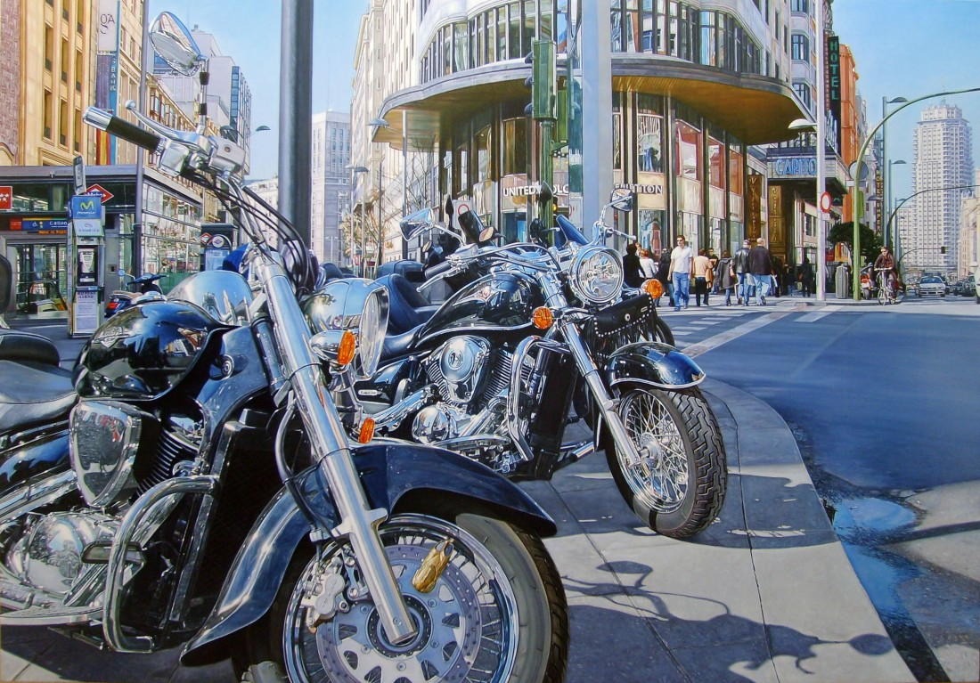 Carlos Pulido Motorcycles in Callao Oil on linen on board 91 x 130 cm