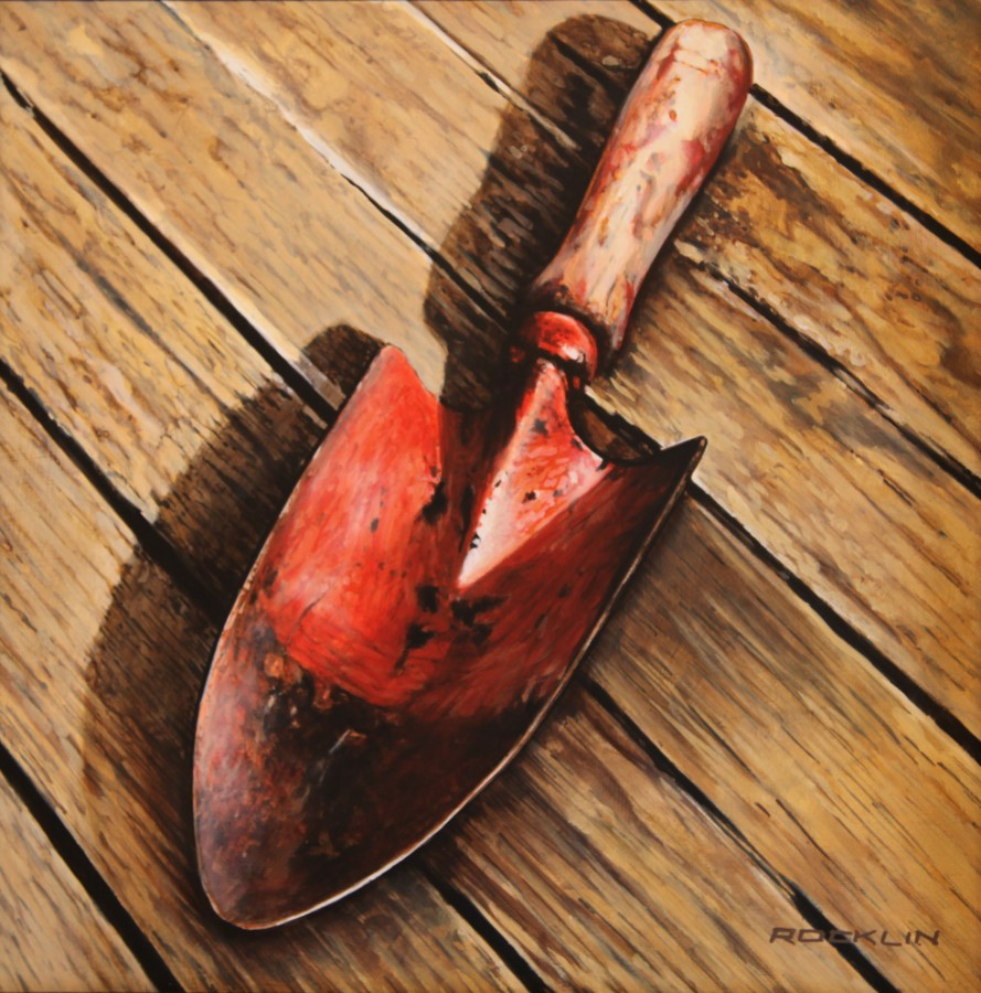 Peter Rocklin Cherished Possessions: Red Trovel Oil on panel 30 x 30 cm