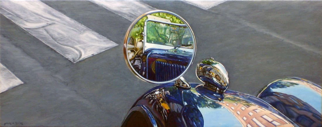 Carlos Pulido Through the Mirror Oil on linen on board 20 x 50 cm