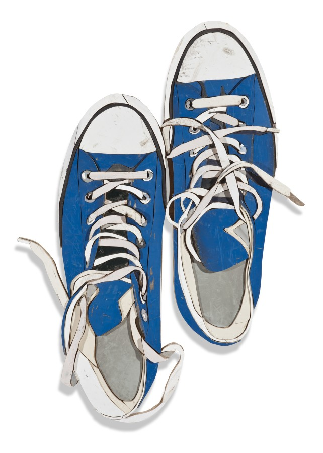 Blue Sneakers from Above Colored salvaged wood 122 x 85 x 3.5 cm