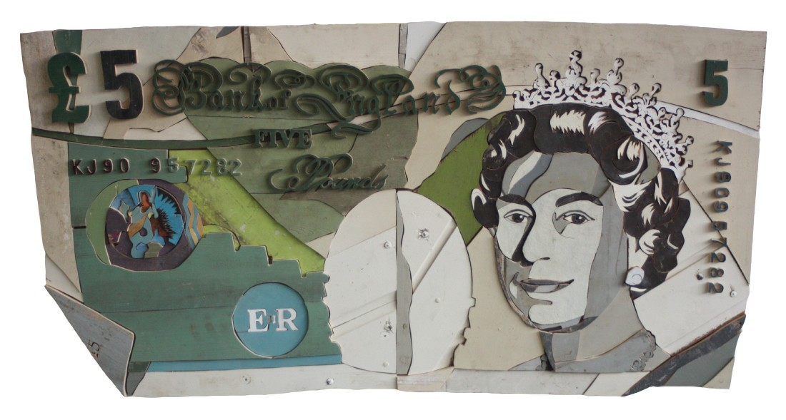Five Pound Note Colored salvaged wood 150 x 78 x 3.5 cm