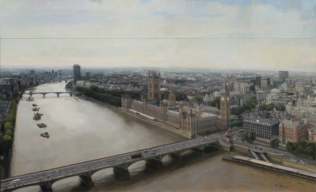 Kike Meana London at Twelve Oil on canvas on board 160 x 250 cm