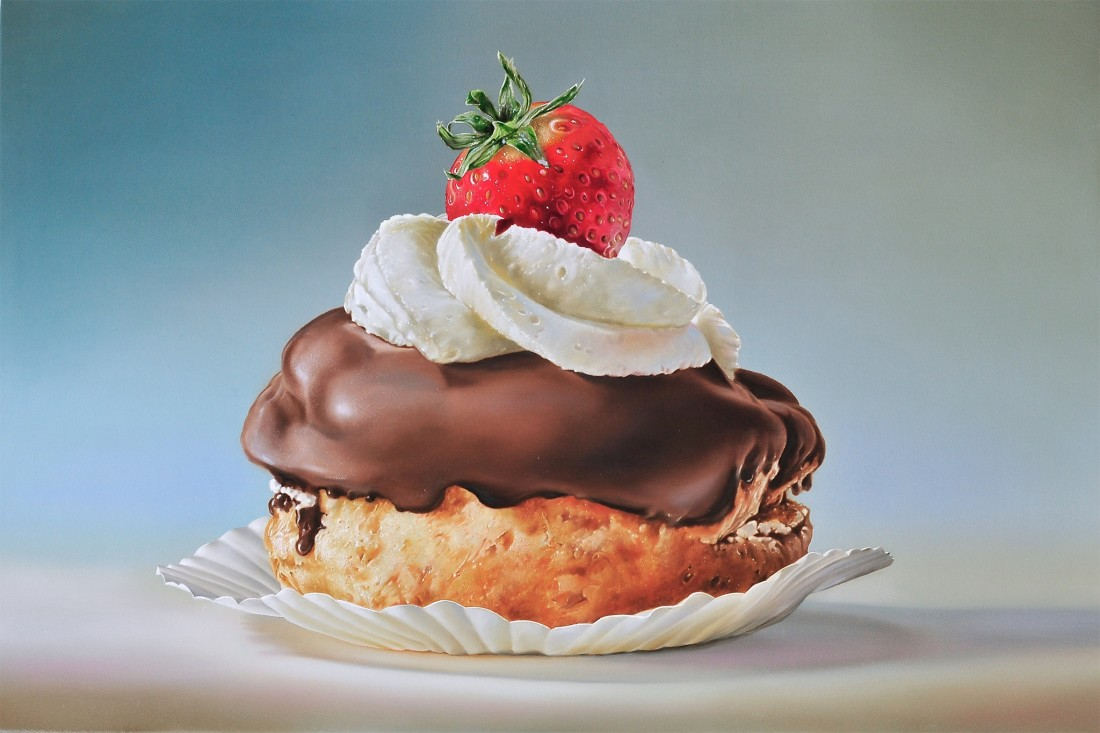 Tjalf Sparnaay Pastry with Chocolate and Strawberry oil on linen 60 x 90 cm
