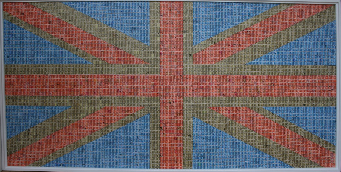 John Dowell The Union Jack Stamps on board 119 x 242 cm