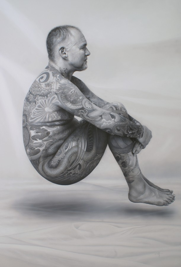 Andrew Tift The Curious Case of the Levitating, Tattooed Man Acrylic on canvas 122 x 84 cm