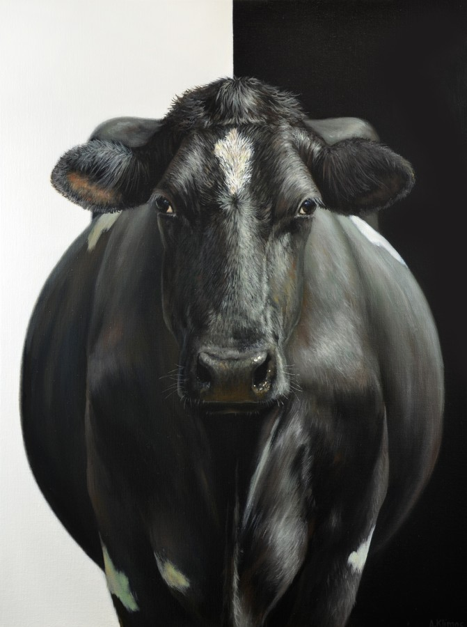 Alexandra Klimas Clarabell the Cow oil on canvas 80 x 60 cm