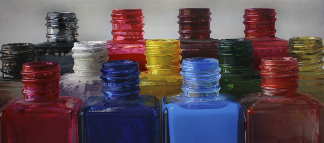 Javier Banegas Colours V Oil on panel 80 x 190 cm