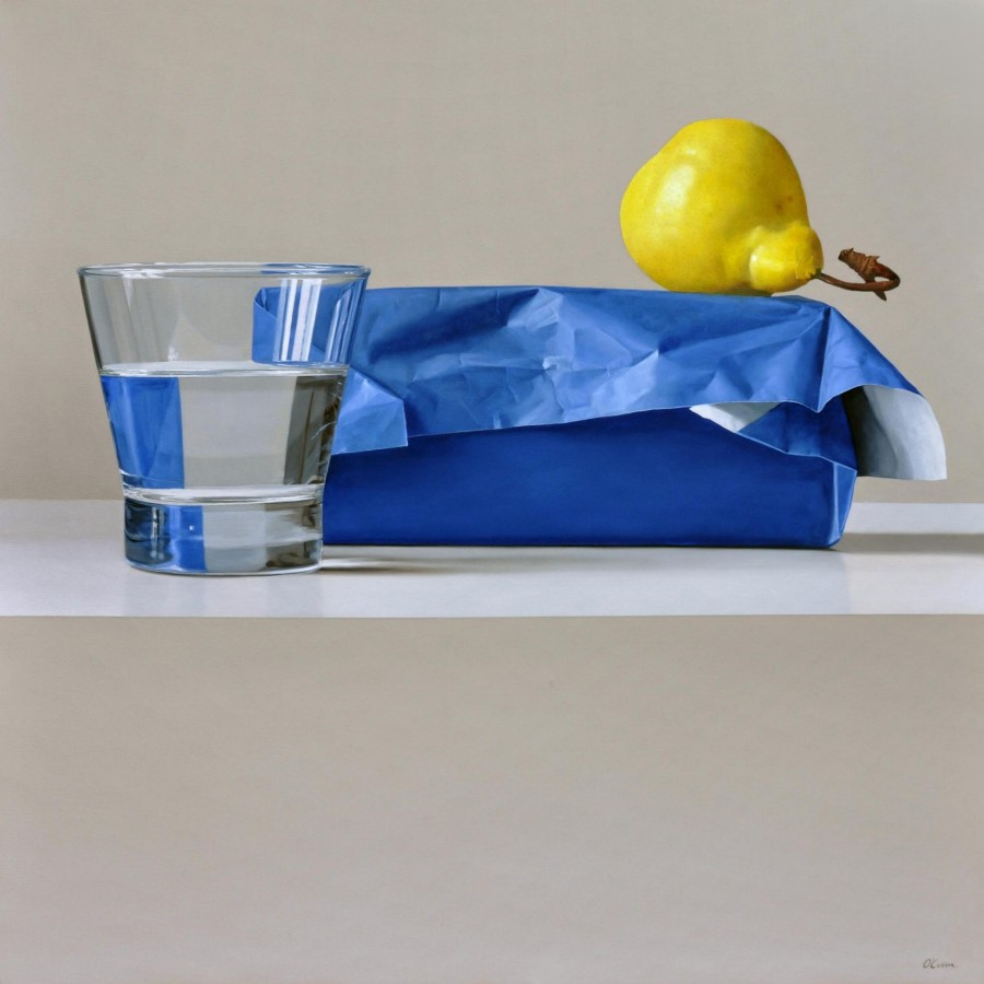 Fernando O'Connor Glass and Pear oil on canvas 120 x 120 cm