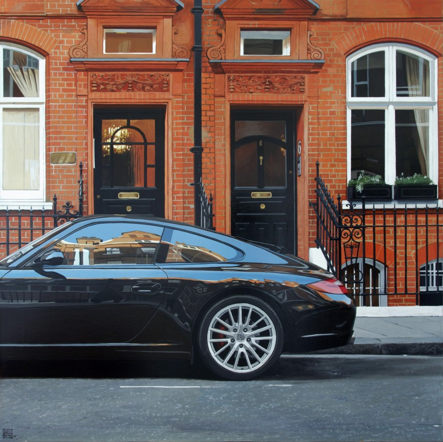 Luis Perez Porsche 997/Draycott Place Acrylic on canvas 73 x 73 cm