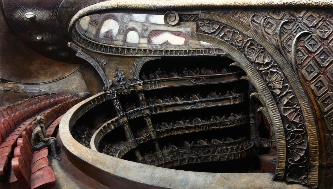 L'opera mezzo Bronze 45 x 80 x 29 cm