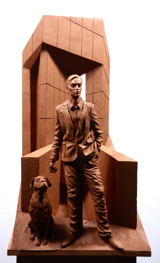 One Dog and His Man Bronze 65 x 28 x 26 cm