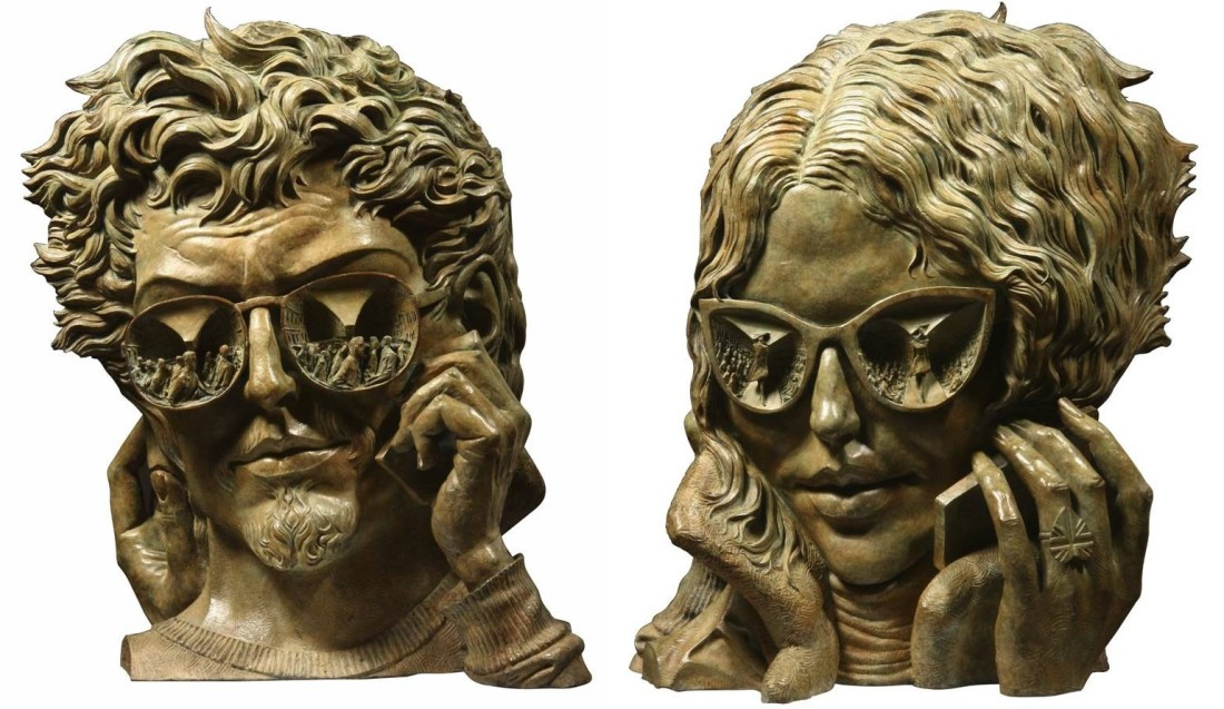 Talking Heads (two-sided piece) Bronze 60 x 52 x 26 cm