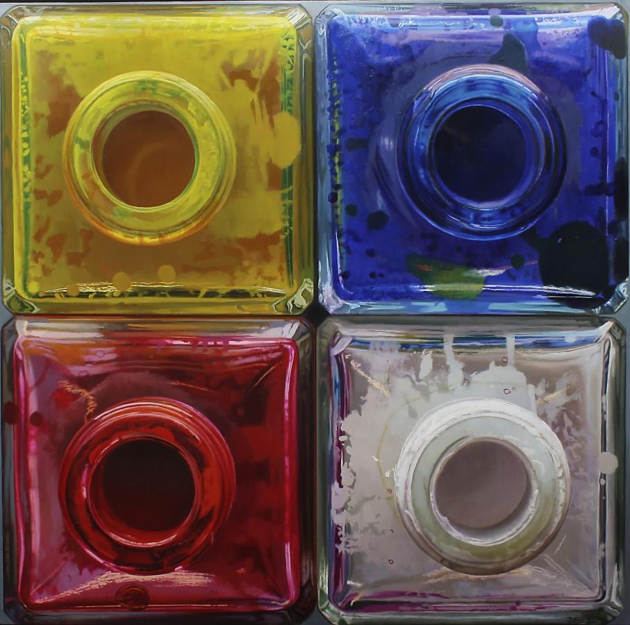 "Javier Banegas ""Four Colours"" Oil on panel 100 x 102 cm"