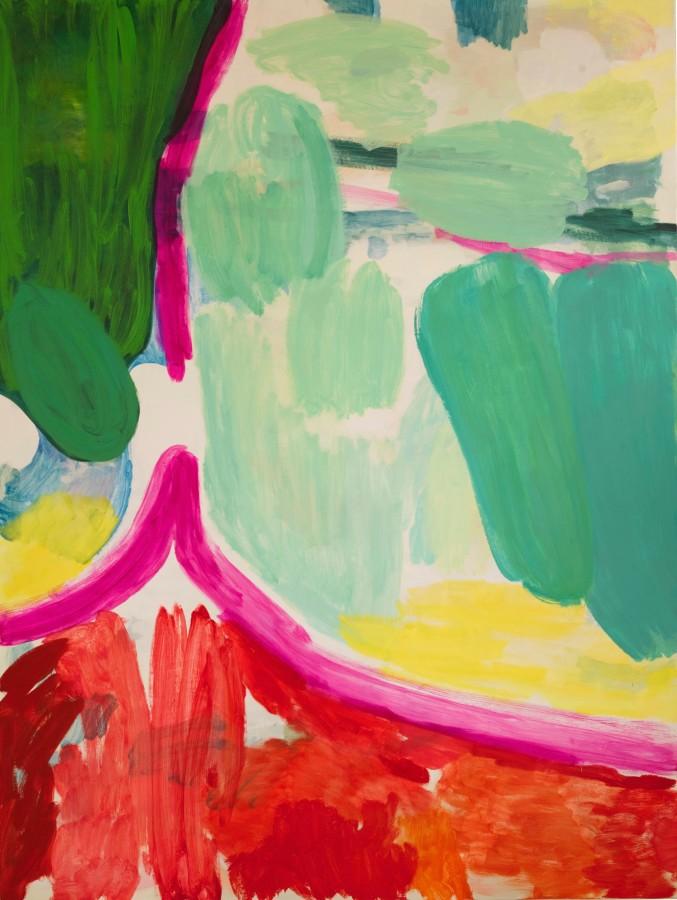 Tim Braden, Greens, Magenta, Reds & Yellow, 2017, oil on canvas, 225 x 169cm