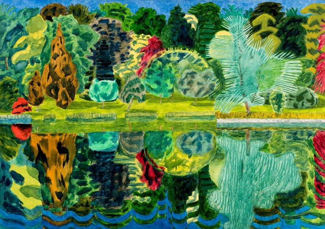 Adrian Berg RA (1929-2011) Stourhead, 24th June 1992, oil on canvas, 132 x 188cm