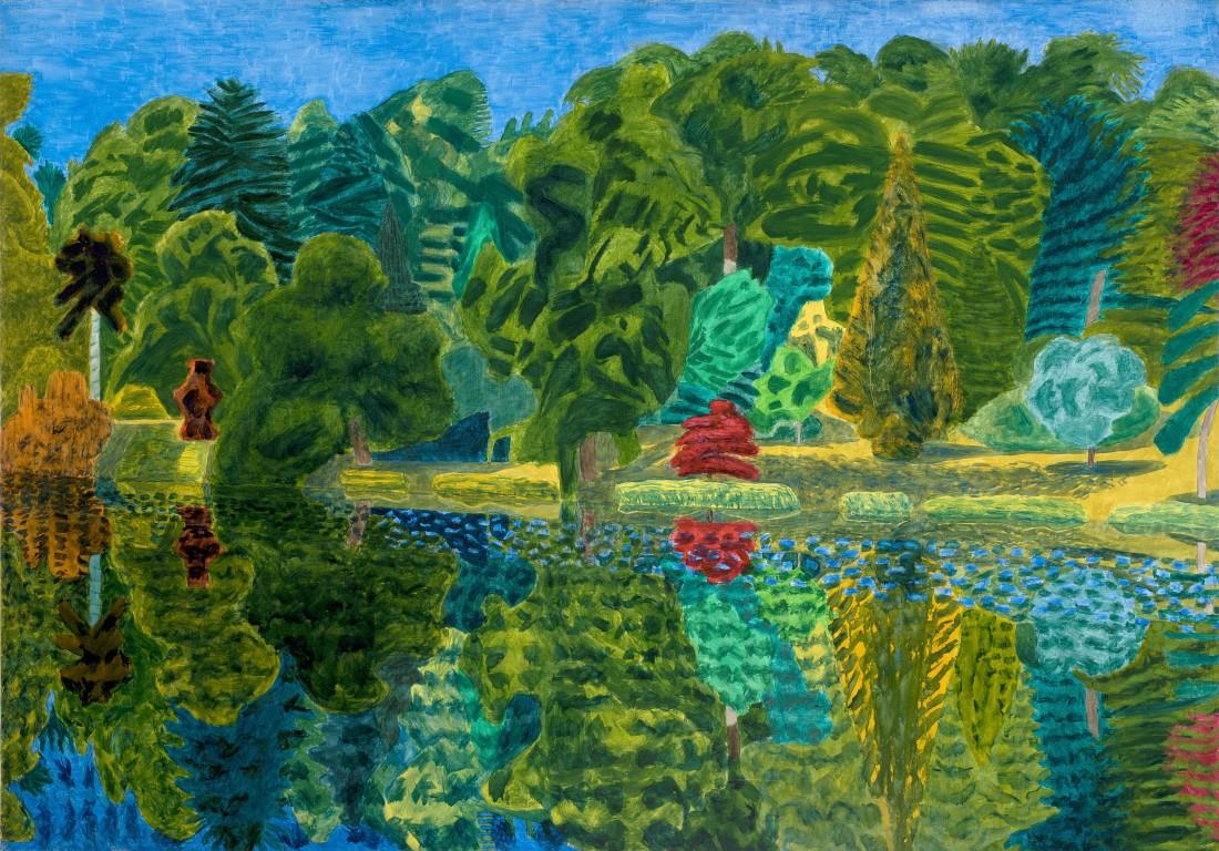 Adrian Berg RA (1929-2011) Stourhead, 29th June 1993, oil on canvas, 132 x 188cm