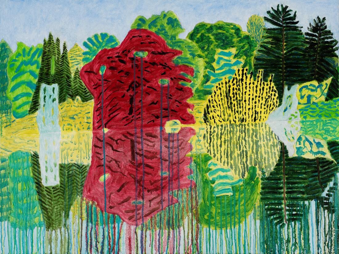Adrian Berg RA (1929-2011) Stourhead, 1st July 2000, oil on canvas, 63 x 89cm