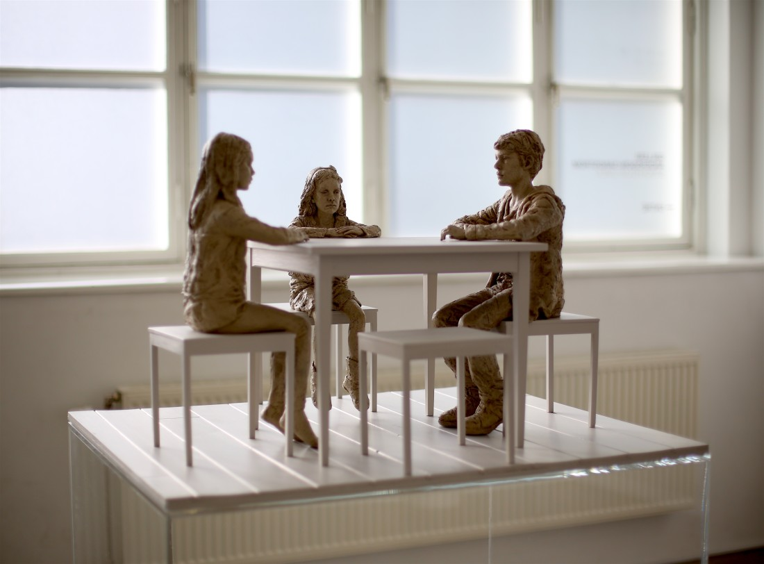 The Dinner Table 2015 Bronze, paint, wood 74 x 74 x 54 cm Edition 1/5