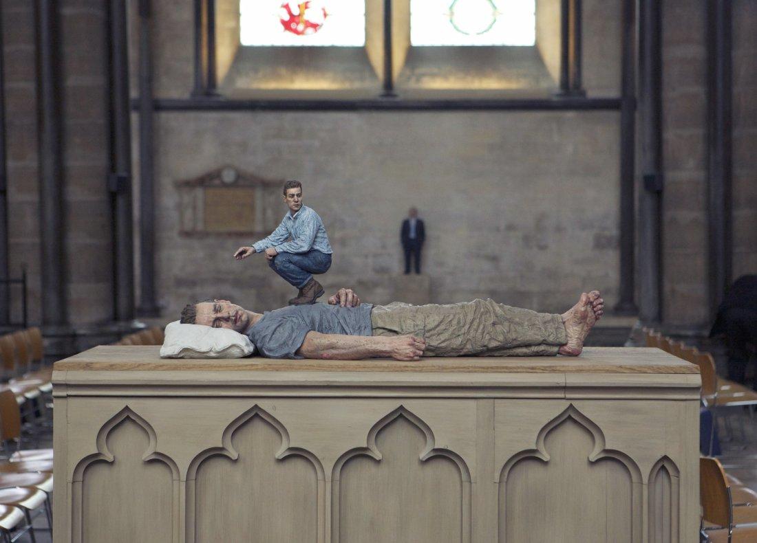 Lying Man Ceramic, Oil paint, Wood, Perspex 147 x 138 x 62 cm | 59 x 54 x 24½ in