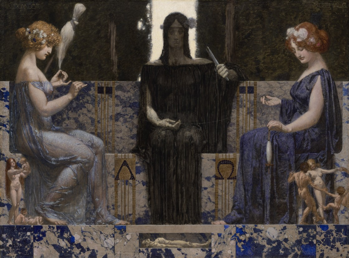 Alexander Rothaug Die drei Parzen (The Three Fates), circa 1910 tempera on canvas 48 ¾ by 68 ½ inches (124 by 174 cm) signed upper left: 'ALEXANDER' and upper right: 'ROTHAUG'