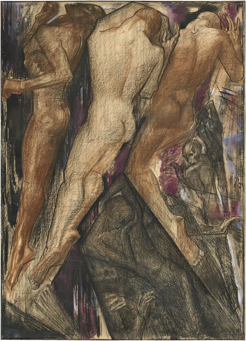 Willem van Konijnenburg Praedestinatie (Dance of Fate), 1918 black and colored chalk on paper 47 ½ by 31 ½ inches (120 by 80 cm.) signed with the artist initials and dated:'WAvK 1918'
