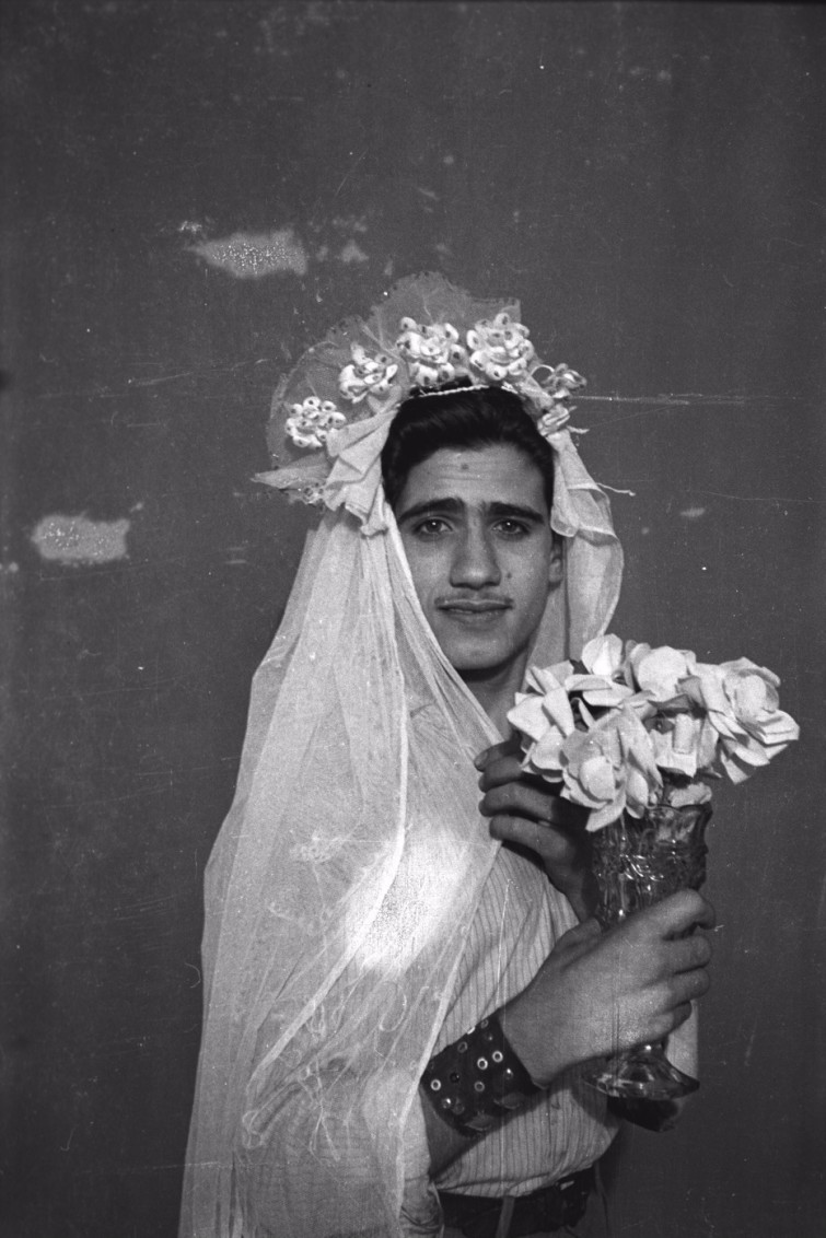 Footnotes to Studio Practices. Najm posing with wedding dress. Photo by Hashem el Madani, Studio Shehrazade, Saida, 1950s, 2015