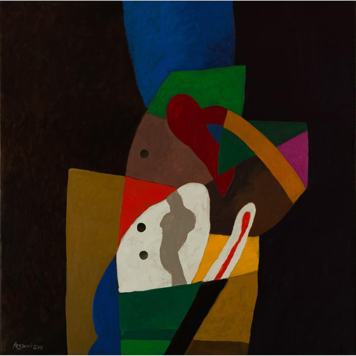 Dia al-Azzawi, Three Hollows in a Coloured Window, 2015