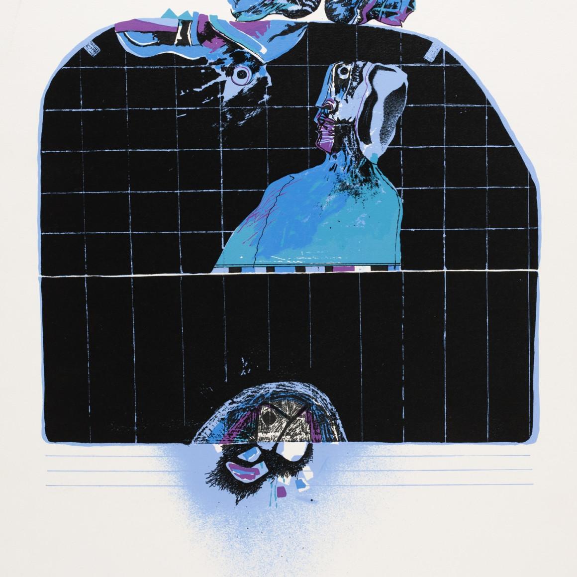 Dia al-Azzawi, Man and Two Birds, 1978