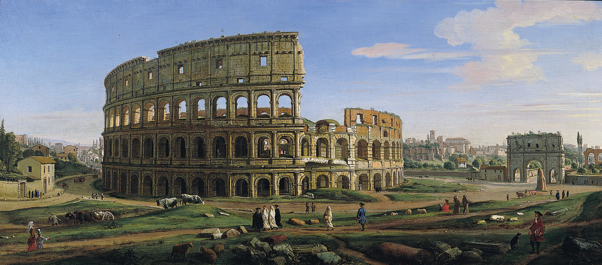 View of the Colosseum and Arch of Constantine from the East