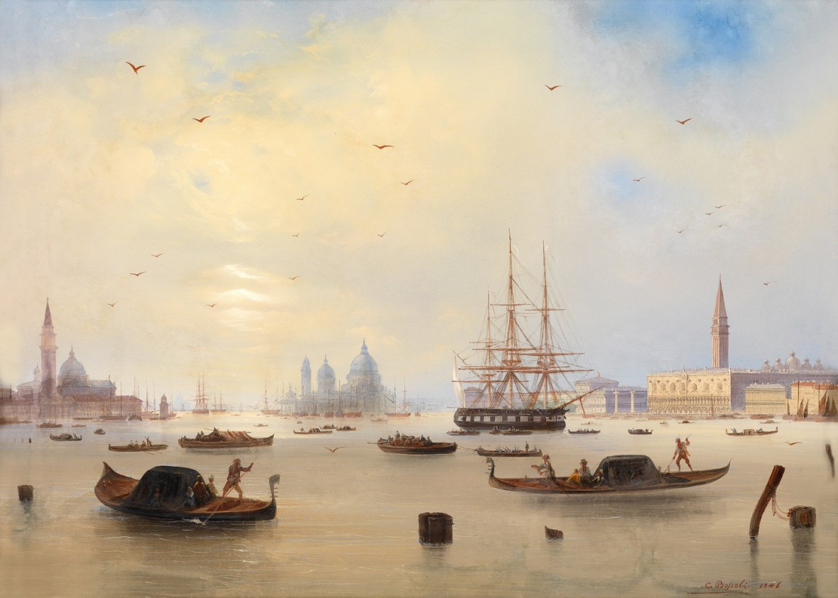Carlo Bossoli View Of The Bay Of St Marks Venice