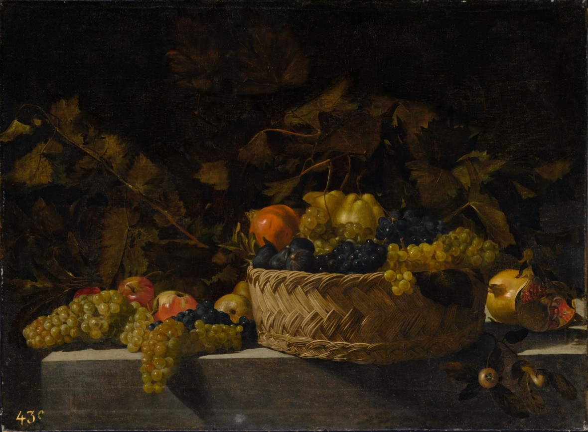 Basket of fruit on a stone ledge