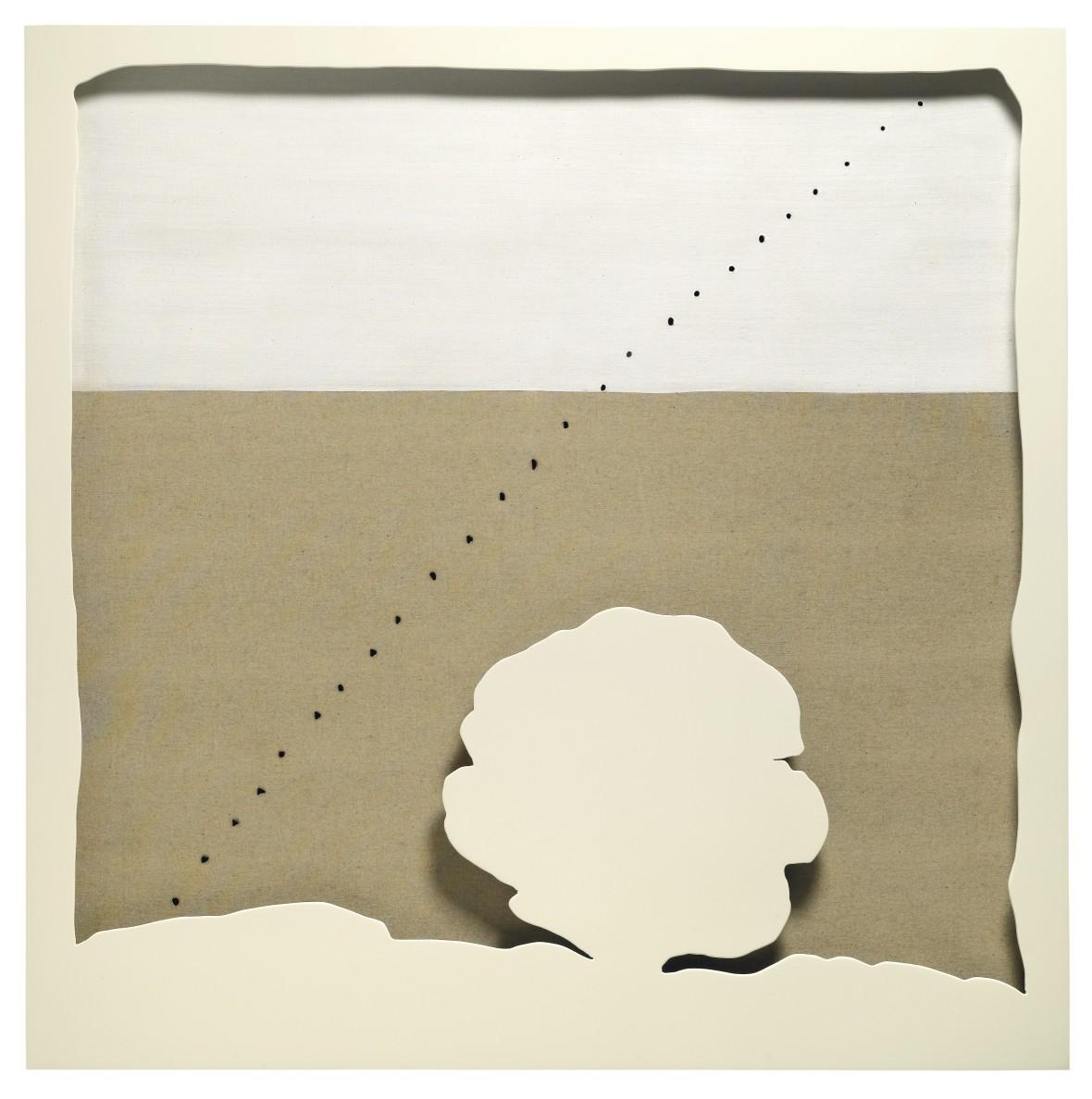 "<p><span class=""artist""><strong>Lucio Fontana</strong></span>,<span class=""title""><em>Concetto Spaziale. Teatrino</em>, 1965</span></p>"