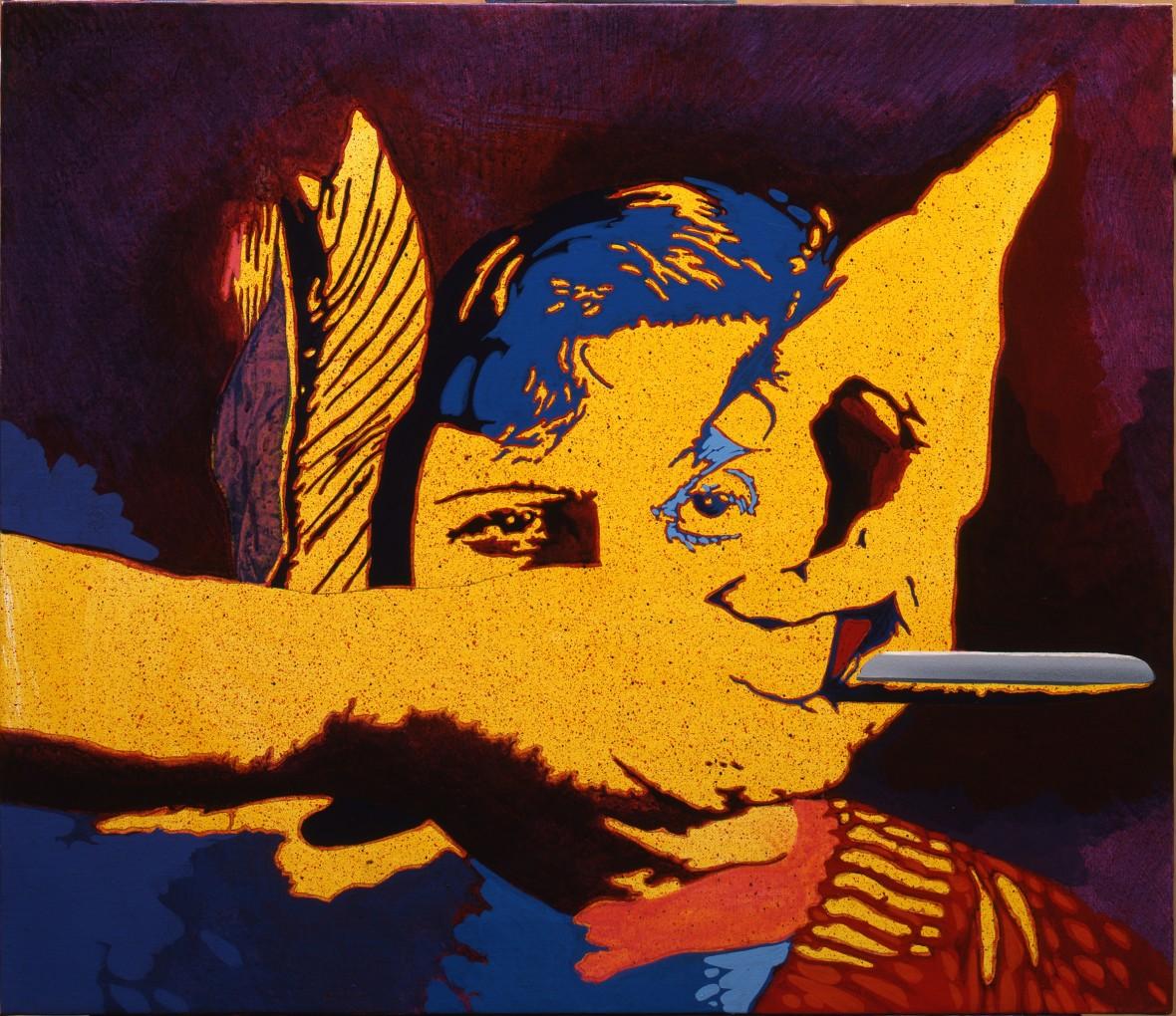 <p><strong>Giangiacomo Spadari</strong></p><p><em>Il cane andaluso</em>, 1977</p><p>Acrylic on canvas 60x70cm</p>
