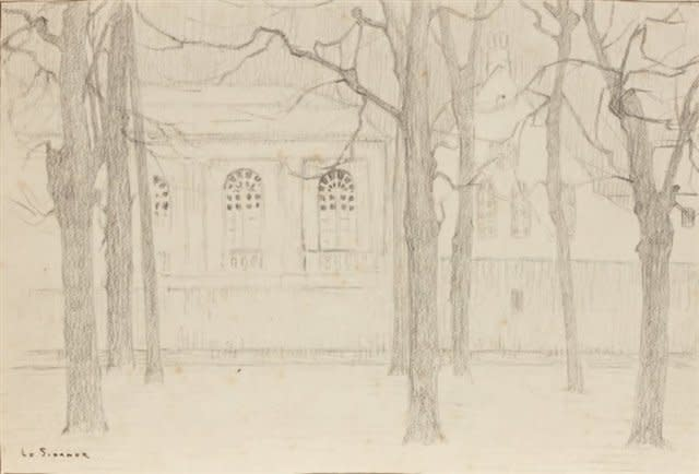 """Henri Le Sidaner, Etude pour """"L'Orangerie""""; Bruges, 1899"""