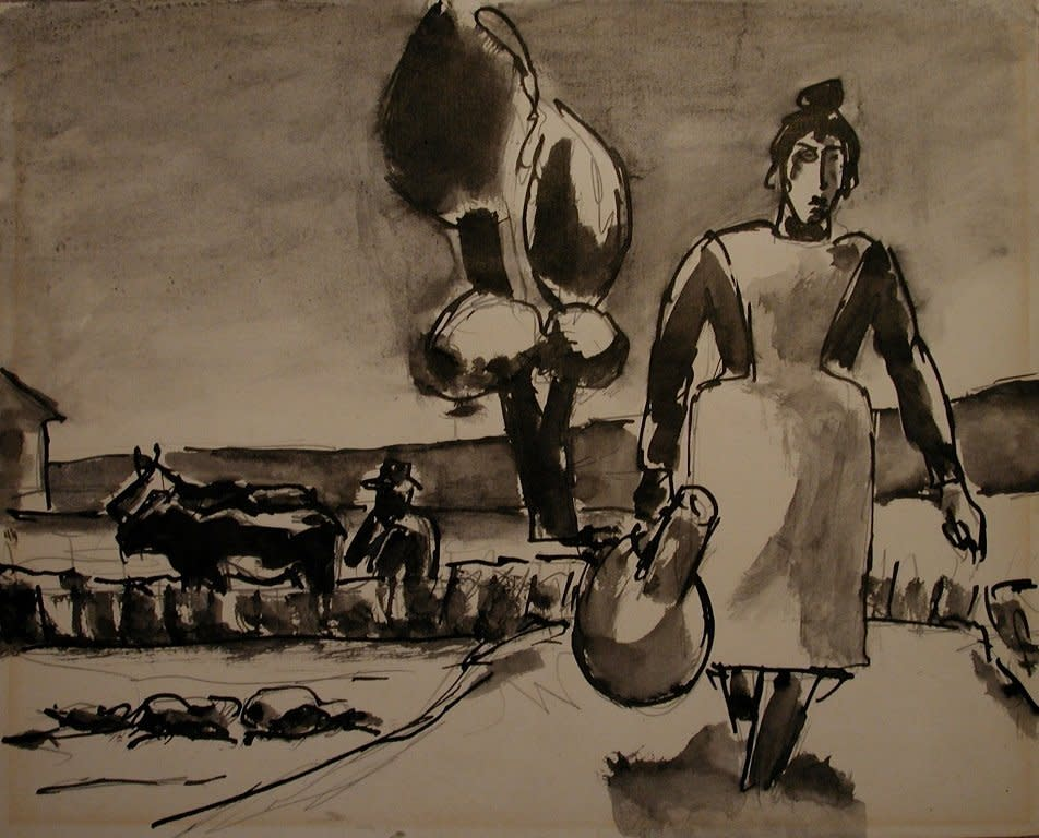 Josef Herman, Water carrier, Torremolinos, 1958