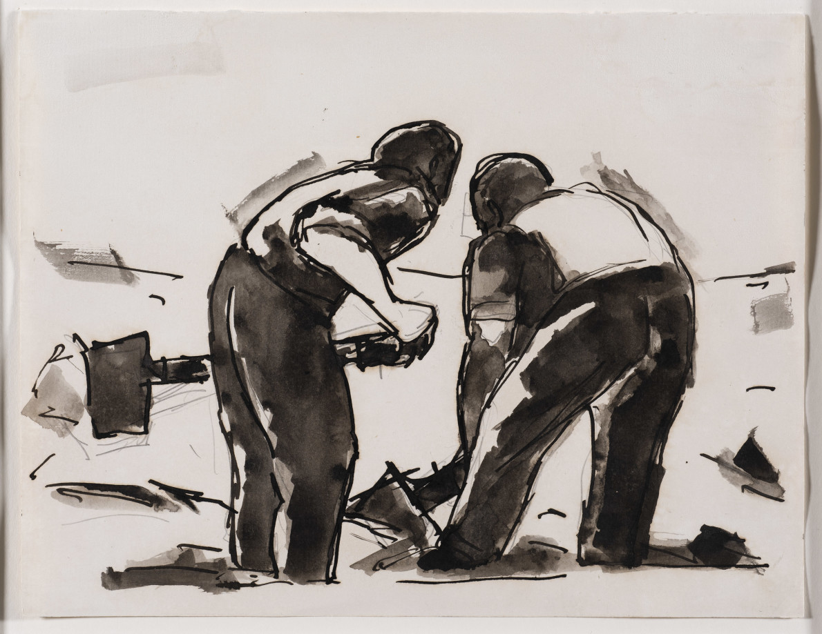 Josef Herman, Two men with shovels, 1956