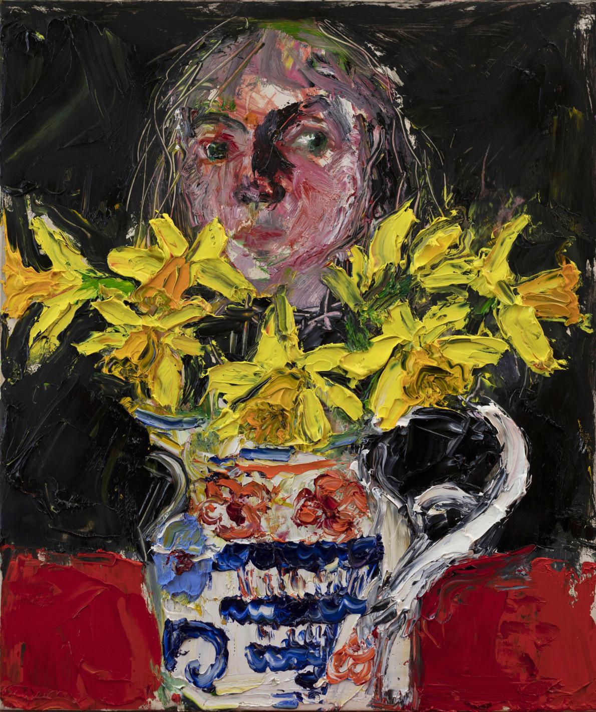 Shani Rhys James, Head behind Daffodils, 2021