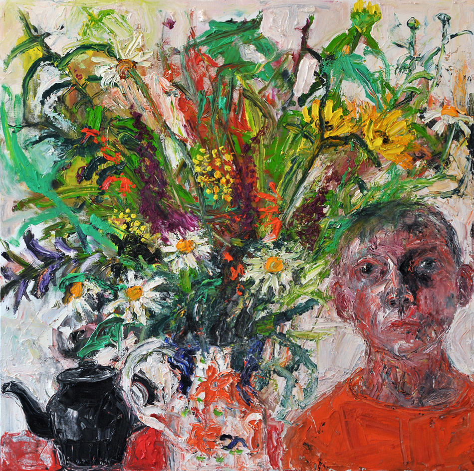 Shani Rhys James, Teapot Flowers Boy in an Orange Top , 2017