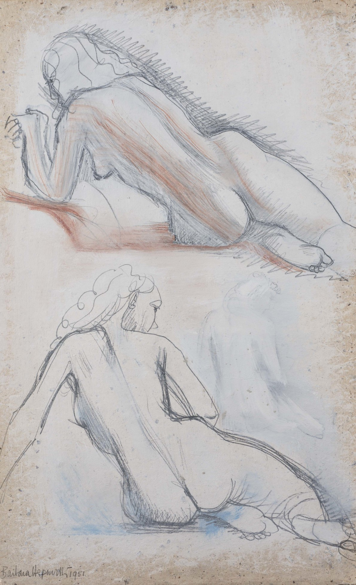 Two studies of a girl on white
